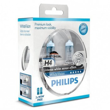 Галоген Philips WhiteVision H4 + 2W5W 12V/55w